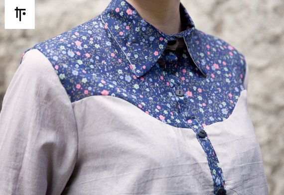 longsleeve shirt in grey and floral pattern by IT. - Isabell Thrun