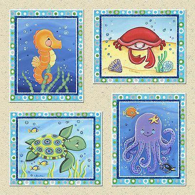 sea animal nursery Kids Sealife Ocean Animals Nursery Bathroom Art
