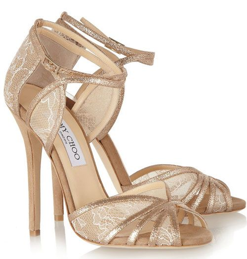 Jimmy Choo 'Fitch' leather and lace sandals | Lace insert, Gold ...