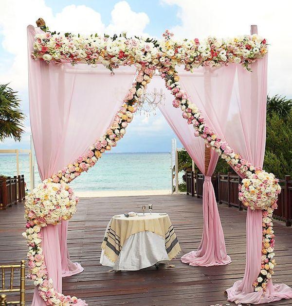 Elegant cancun blush pink wedding arch ceremony decorations elegant cancun blush pink wedding arch ceremony decorations junglespirit Choice Image