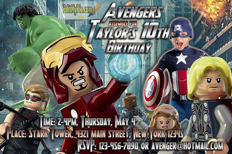 LEGO Avengers Birthday Party Invitation