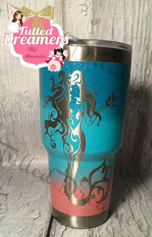 Mermaid Tumbler Glitter Mermaid Tumbler Painted Mermaid