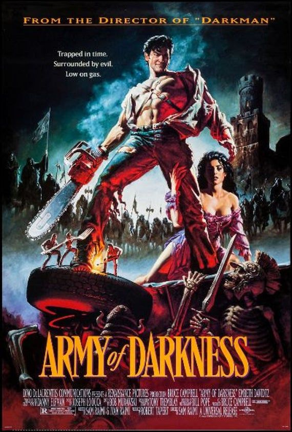 ARMY OF DARKNESS  1993  original 27x40 rolled Movie Poster  Bruce Campbell, Embeth Davidtz, Sam R is part of Classic movie posters, Photo print poster, Movie posters, Horror movie posters, Movie poster art, B movie - or storage  It has been repaired on the reverse side with paper tape and the damage is barely noticeable  The poster  has never been used and came directly from the studio  The poster is a 1Sheet that measures exactly 26 75 x 39 75 inches in size  It is 1sided and has been stored in a dry, smokefree home  It has the NSS Number of 930035 in the lower right hand corner  NOT A CHEAP VIDEO POSTER OR WORTHLESS REPRINT  BUT A BEAUTIFUL ORIGINAL THEATRICAL RELEASE MOVIE POSTER   PLEASE NOTE I received these rolled in the original box from the studio  To further prove the authenticity of these posters, I have taken a picture of the box they came in  You can see that picture in addition to the picture of the poster SHIPPINGThe poster will be shipped via the US Postal Service's First Class mail  FREE SHIPPING ON ALL PRODUCTS!Seller pays for insurance to ship the item PAYMENT METHODS I will accept PAYPAL  PLEASE CHECK OUT MY FEEDBACK!! BUY WITH CONFIDENCE!GOOD LUCK!