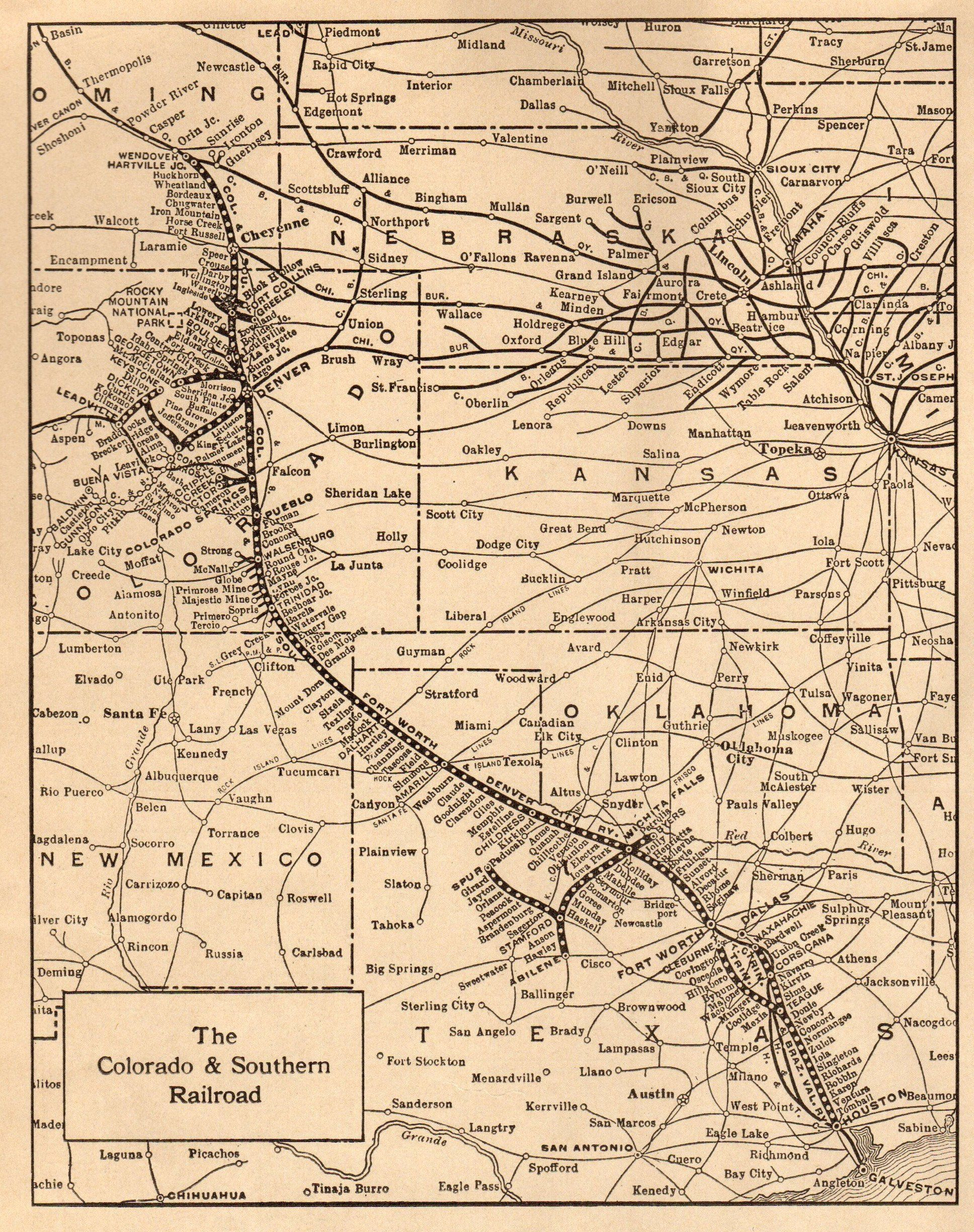1922 Antique Colorado Southern Railroad Map Antique 1920s Railway Map Black And White Gallery Wall Art 6736 By Colorado Map Art Gallery Wall Colorado Railroad