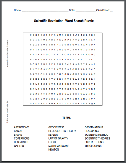 Scientific Revolution Word Search Puzzle - Free to print (PDF file) for high school