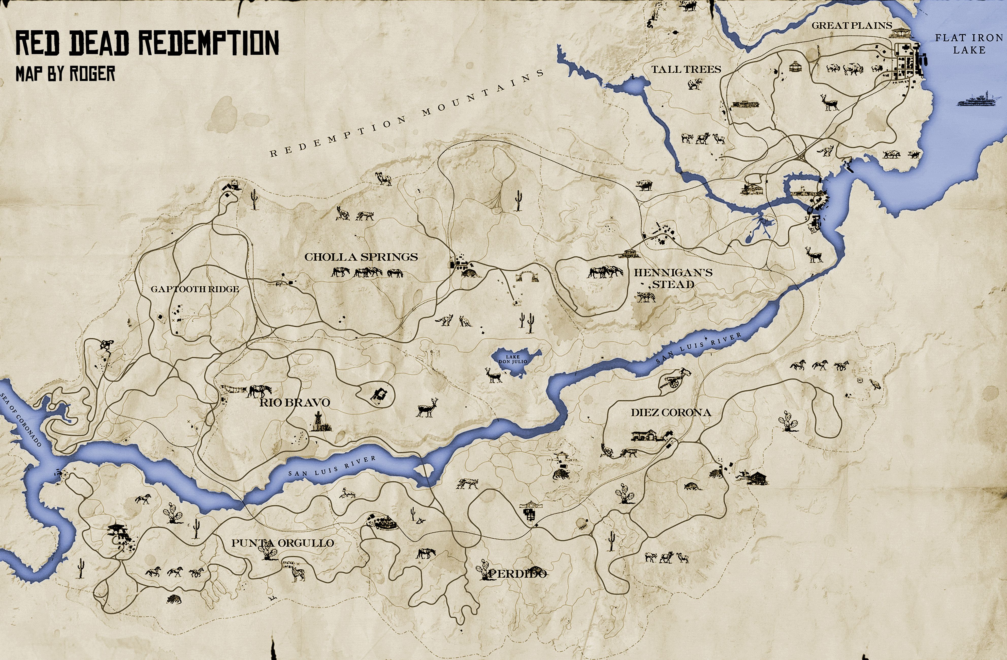 Red Dead 2 World Map.Map From Video Game Red Dead Redemption Game Is Set In The Old West