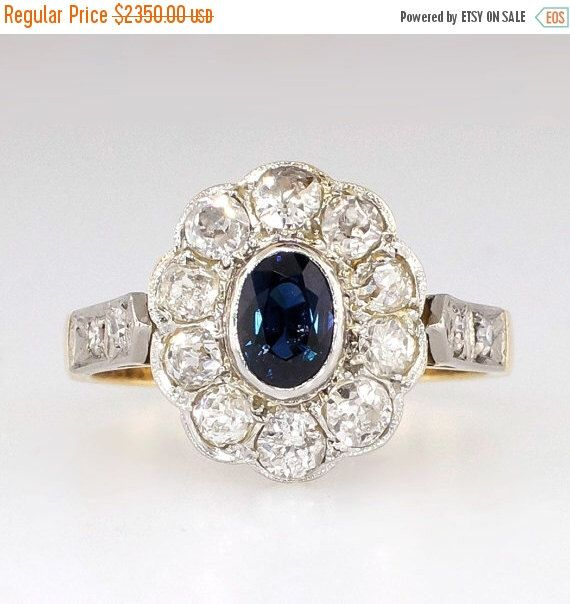 SALE Beautiful 1.54ct t.w. Art Nouveau Old European Cut Diamond & Sapphire Ring 18k by YourJewelryFinder on Etsy https://www.etsy.com/listing/235422362/sale-beautiful-154ct-tw-art-nouveau-old