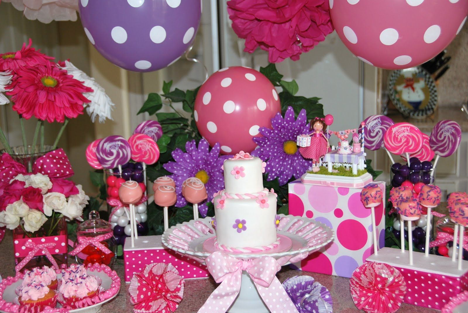 Birthday Cake Table Ideas Pink Purple Birthday Fun Sweets and