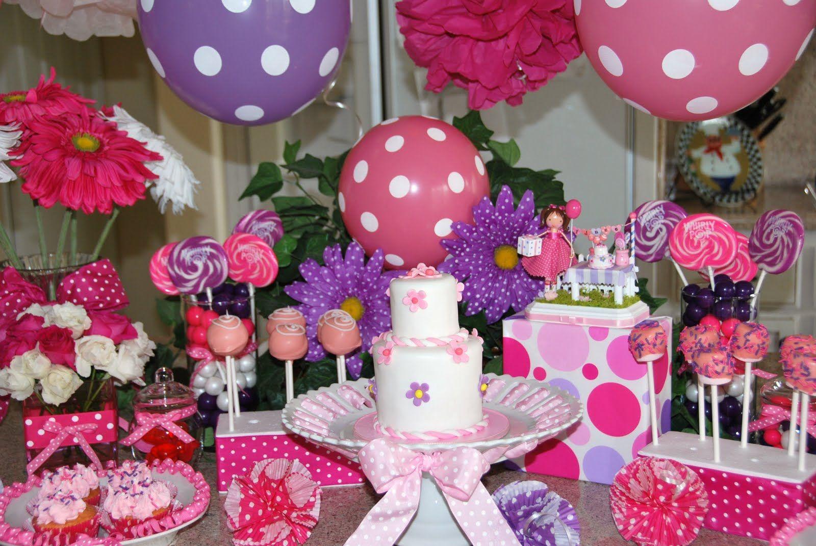 Birthday Cake Table Ideas Pink Purple Birthday Fun Sweets