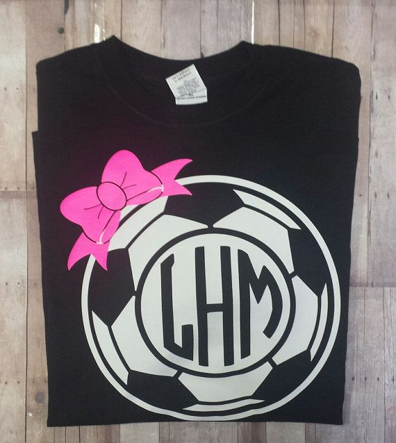 soccer monogram shirt w bow by ddanddesigns on etsy - Soccer T Shirt Design Ideas