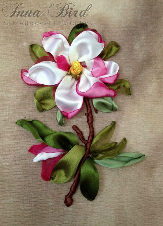 Magnolia Silk Ribbon Embroidery by Innetta (Inna Bird) / Gallery.ru