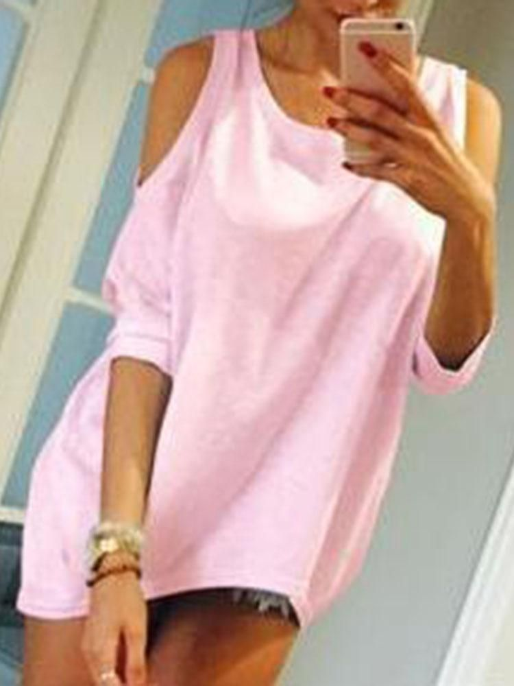 Cut-Out Scoop Neck Casual T-shirt