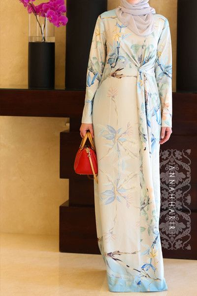 Elegant modest maxi Knot dress. Paired with light grey hijab (sheila)