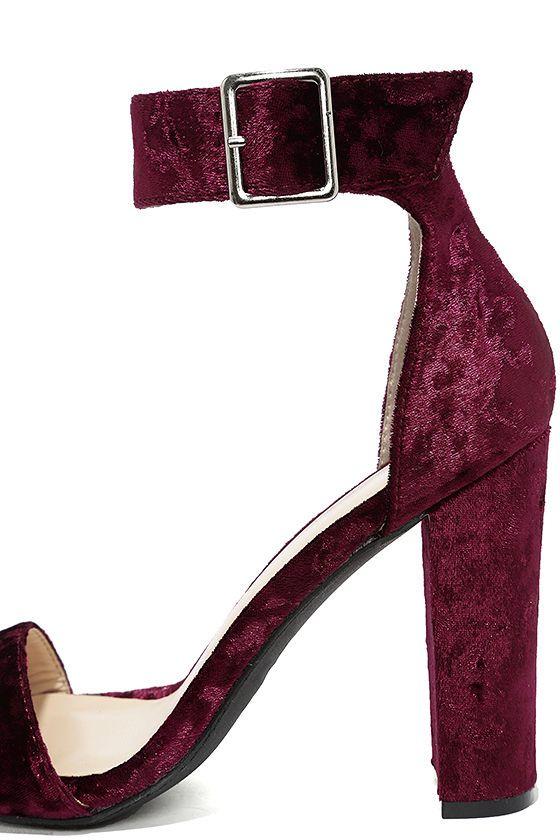 228ceeacc6 Chic Wine Heels - Burgundy Velvet Heels - Block Heels - Ankle Strap Heels -  $26.00