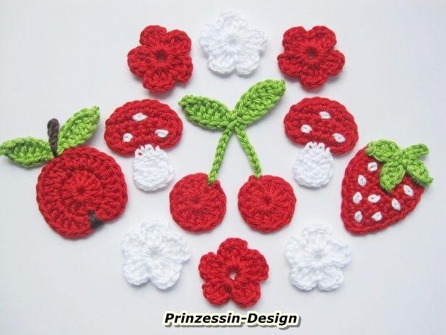 Apfel Erdbeere Kirsche Fliegenpilz Häkelblumen Háčkovaní