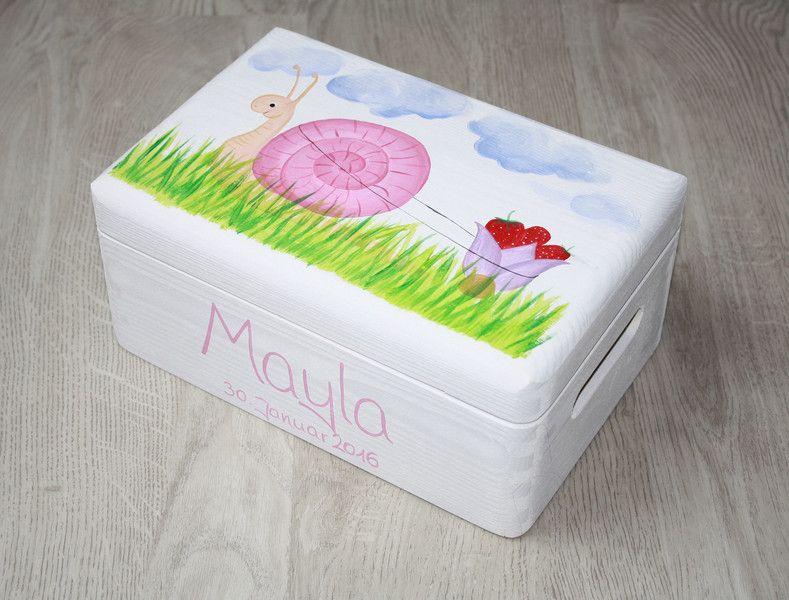 Kisten & Boxen - Spitzbub Erinnerungsbox Kiste - Erdbeerschnecke - ein Designerstück von Spitzbub bei DaWanda
