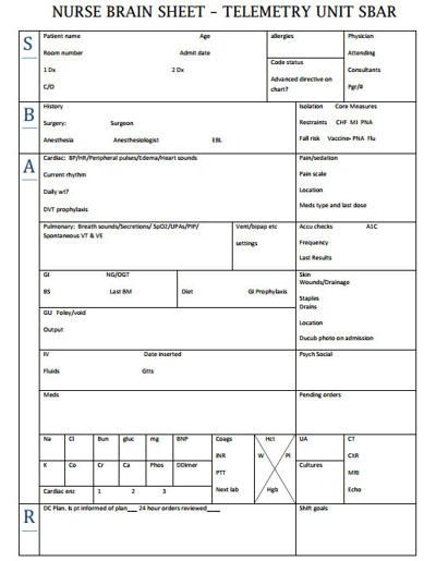 Nurse Brain Sheets u2013 Telemetry u2026 Pinteresu2026 - shift report template