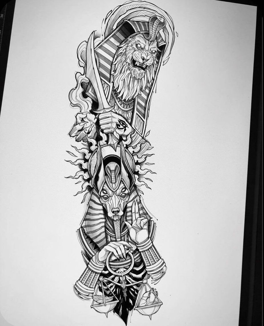 Unbelievable Sketch Ideas For Tattoos In 2020 Egyptian Tattoo Sleeve Egyptian Tattoo Egypt Tattoo