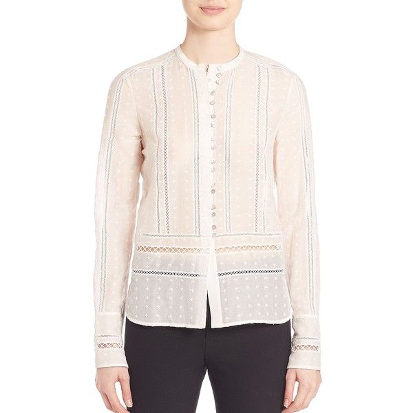 Derek Lam 10 Crosby Embroidered Silk Blend Top (535 CAD) ❤ liked on  Polyvore featuring tops, apparel & accessories, soft white, white long  sleeve top, ...
