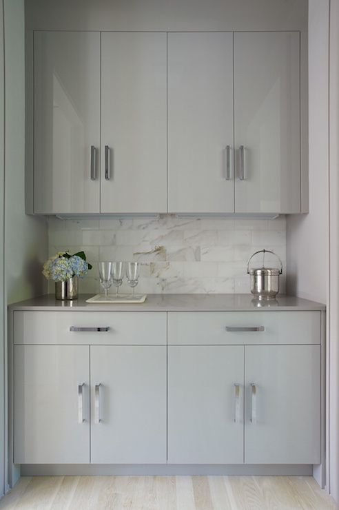Modern Gray Butler S Pantry Is Filled With Gray Flat Front