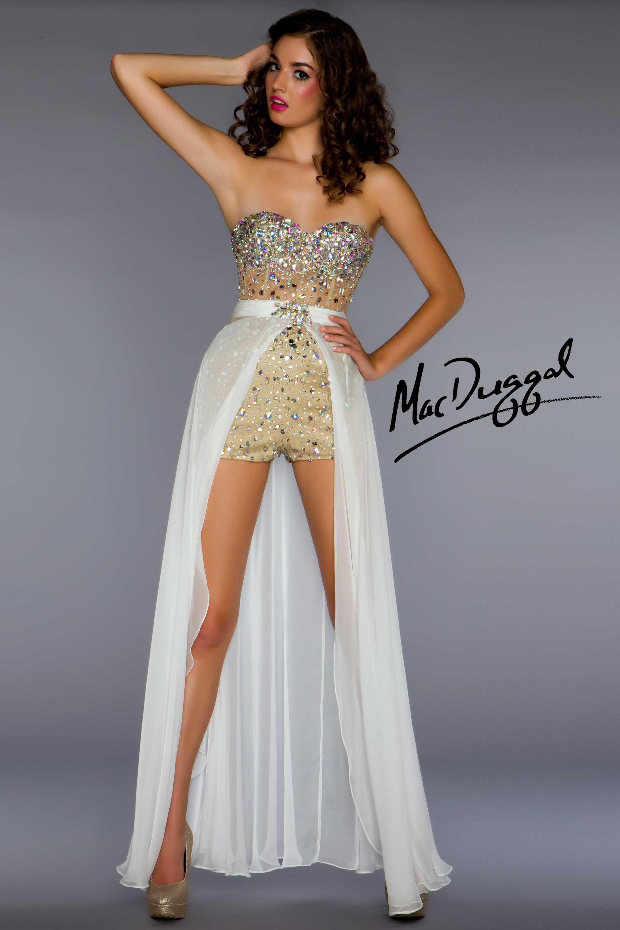 85404020274 Mac Duggal Ivory Hot Short Prom Dress with Detachable Skirt