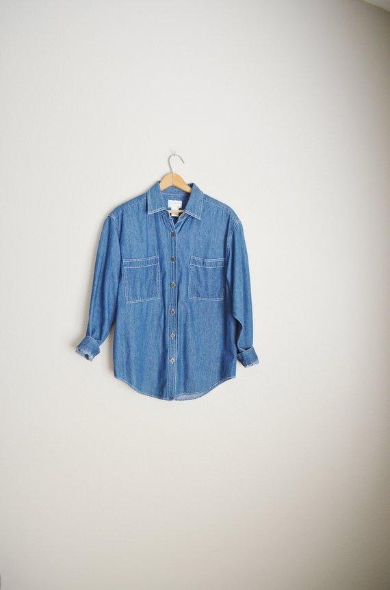 af3dfdb0d vintage 80s 90s classic denim jean button down minimal comfy oversize blouse  shirt -- womens small/m