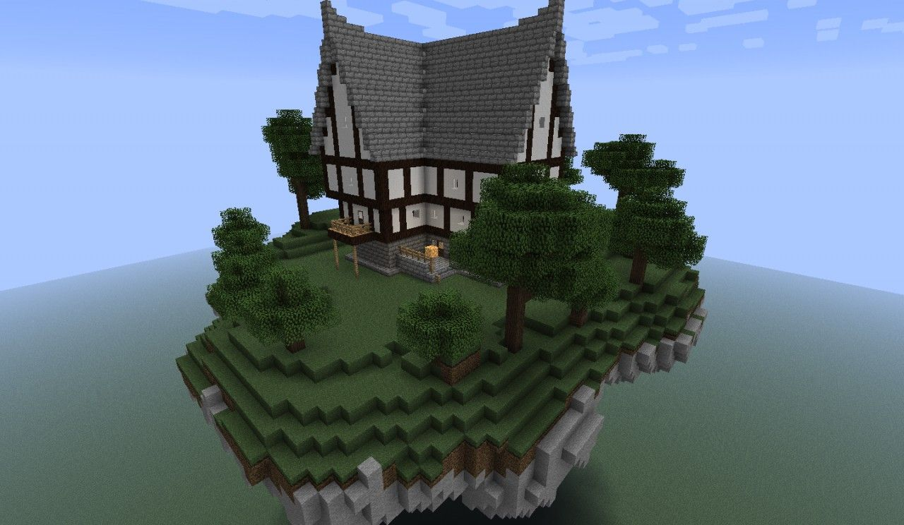 Floating Island With A House Minecraft Project Minecraft Projects Floating House Minecraft