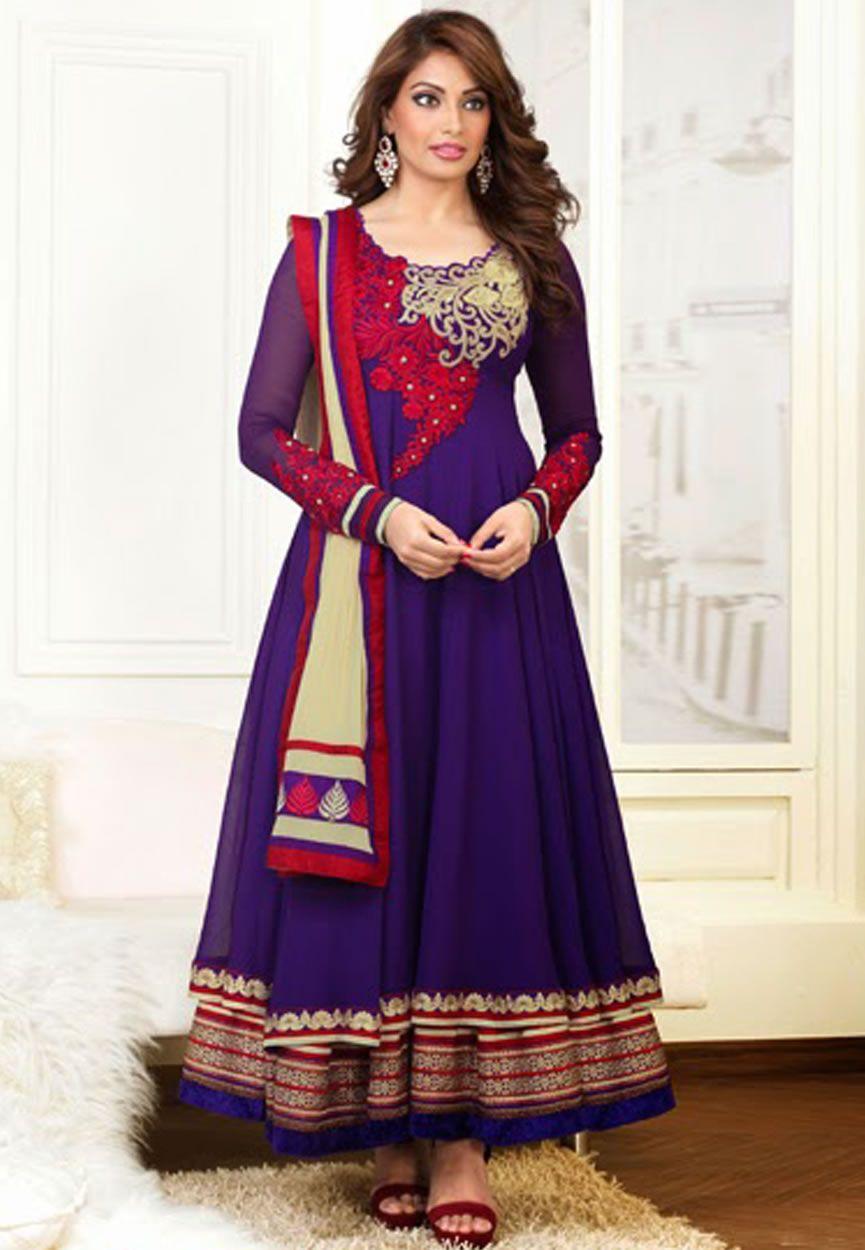 d6744e857 Bipasha Basu Purple Color Designer Semi Stitched Anarkali Suit ...