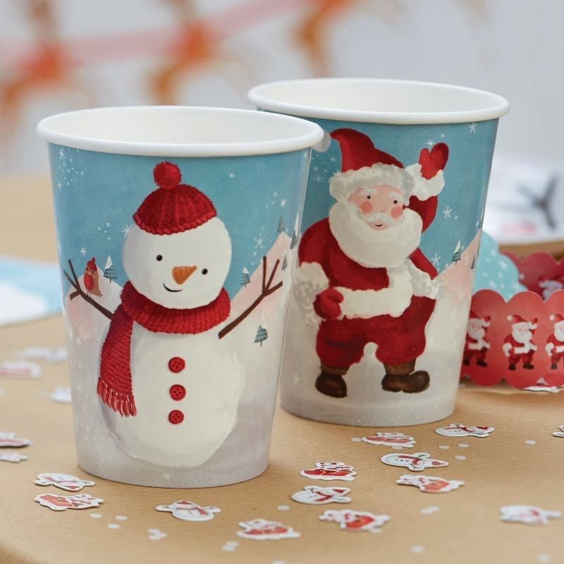 These Festive Cups Make A Great Addition To The Christmas Table With Snowman And Santa Designs They Are Sure To Bring Joy And Festivities Christm