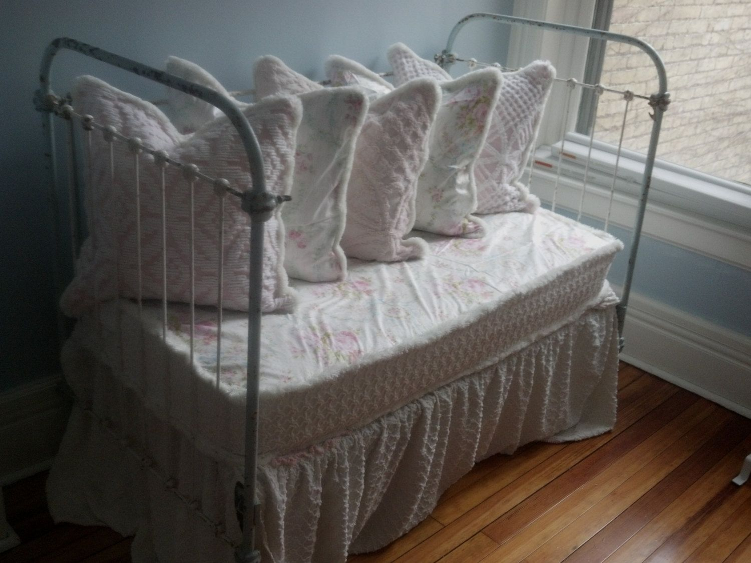 Used crib for sale atlanta - Custom Order Antique Wrought Iron Crib Settee Daybed Shabby Chic Chenille Bedspread Roses White Iron Cottage