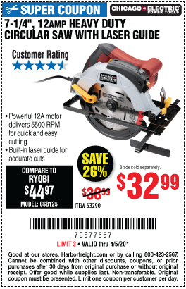 Chicago Electric 7 1 4 In 12 Amp Heavy Duty Circular Saw With Laser Guide System For 32 99 Harbor Freight Tools Guide System Ryobi