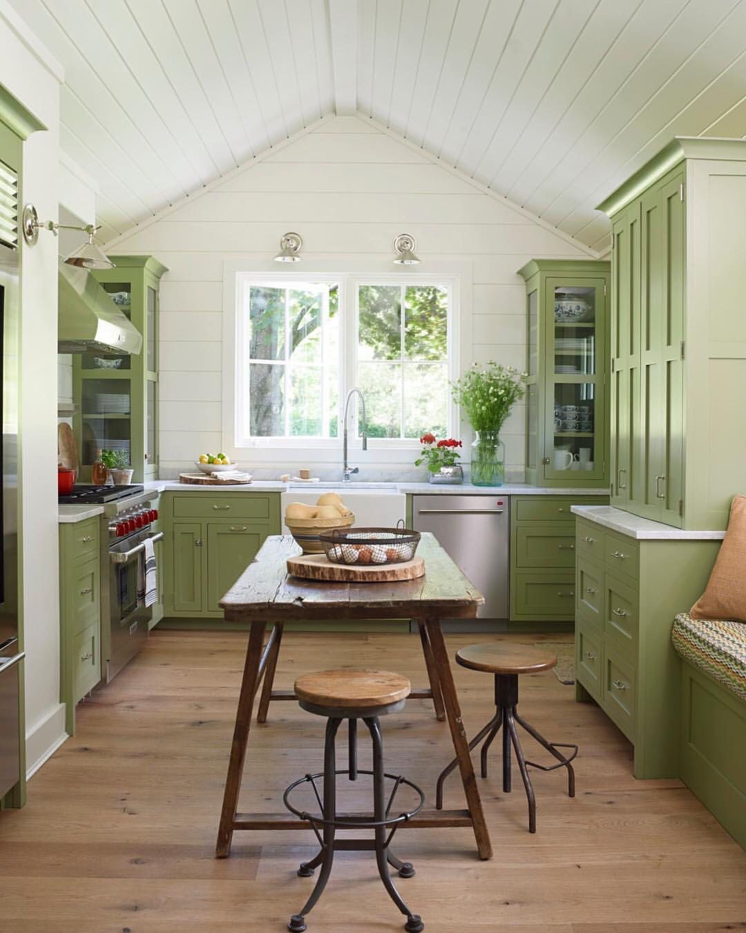 Table In The Middle Of The Kitchen Instead Of An Island Green Kitchen Cabinets Country Kitchen Kitchen Design