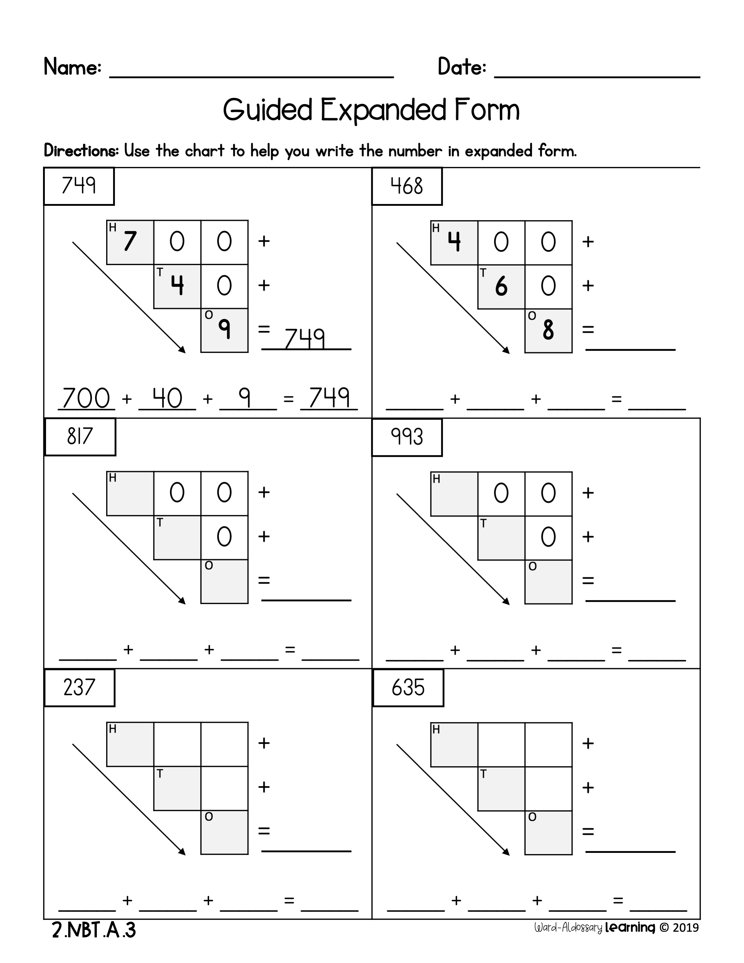 2nd Grade Numerals Number Names Expanded Form No Prep