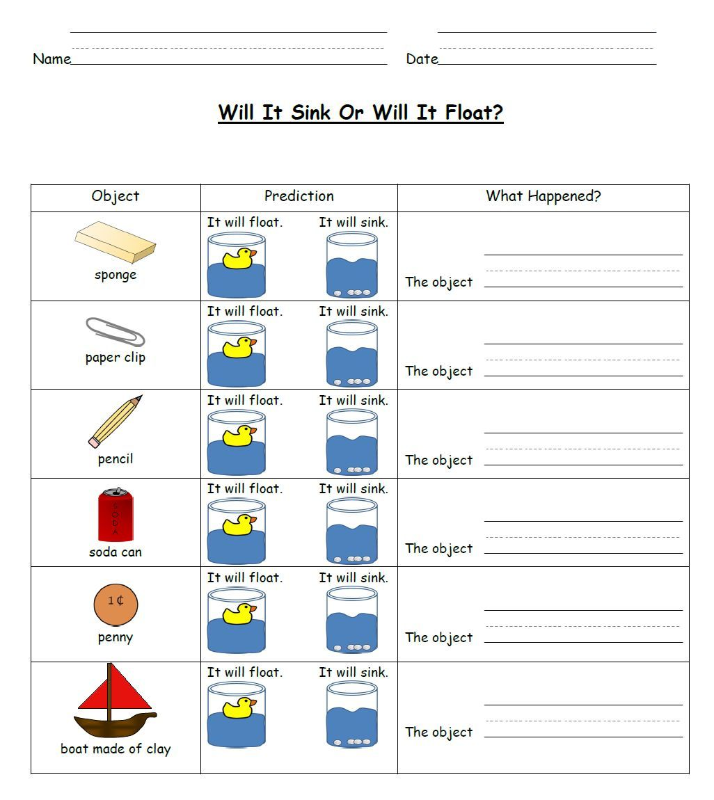 Worksheets Sink Or Float Worksheet sink and float science activities student learning worksheets great for students about this concept