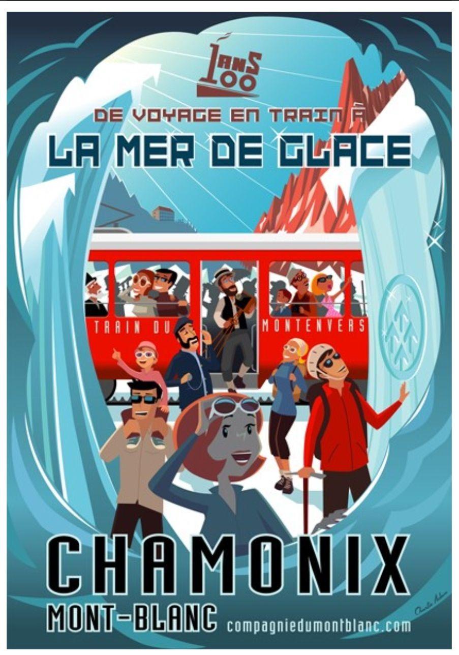 Vintage Railway Travel Poster - Chamonix - Mont Blanc - by Charlie Adam.