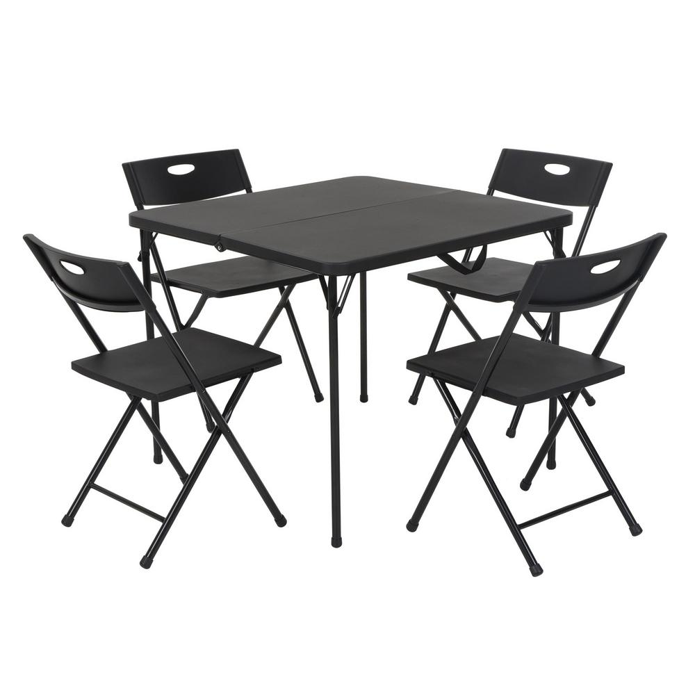 Cosco 5 Piece Black Fold In Half Folding Card Table Set 37335blk1 The Home Depot And Chairs Wood Console Reclaimed