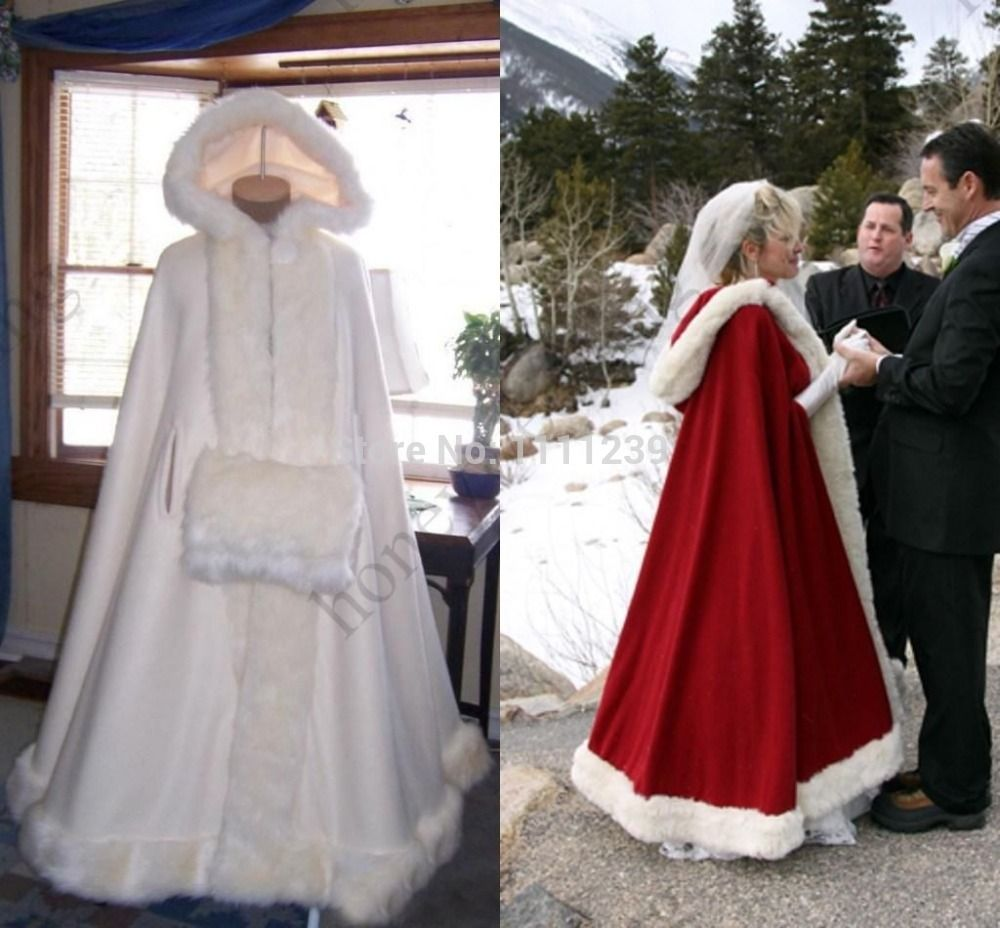 Coat dresses for weddings  Bridal Cape Ivory Stunning Wedding Cloaks Hooded with Faux Fur Trim