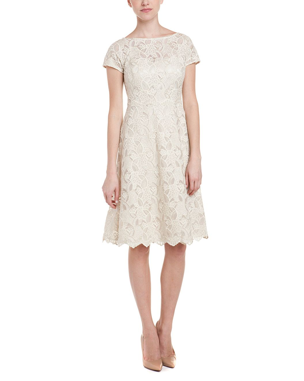 Spotted this teri jon by rickie freeman ivory lace fit u flare dress