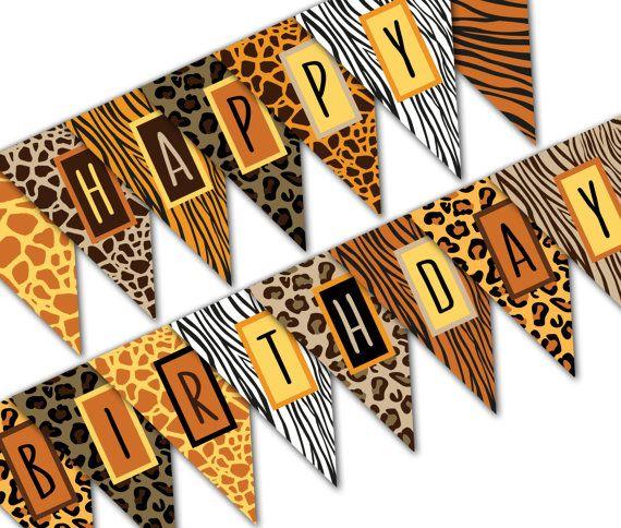 Safari Birthday Banner Happy Birthday Banner Jungle Birthday