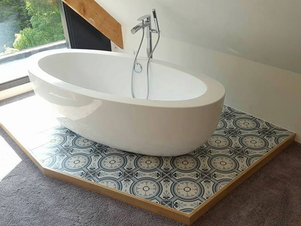 French Bathroom Tiles French Style Patterned Tiles Bathroom Bathroom Tiles Pinterest