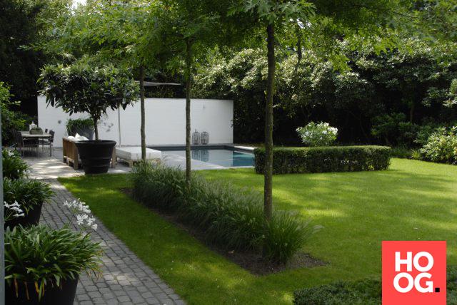Anne laansma pure eenvoud in een moderne tuin met zwembad