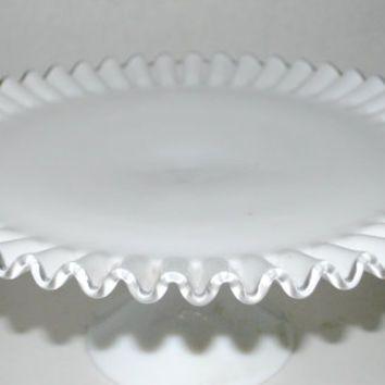 Fenton silver crest cake stand wedding cake stand milk glass cake dish footed cake stand & Fenton silver crest cake stand wedding cake stand milk glass cake ...
