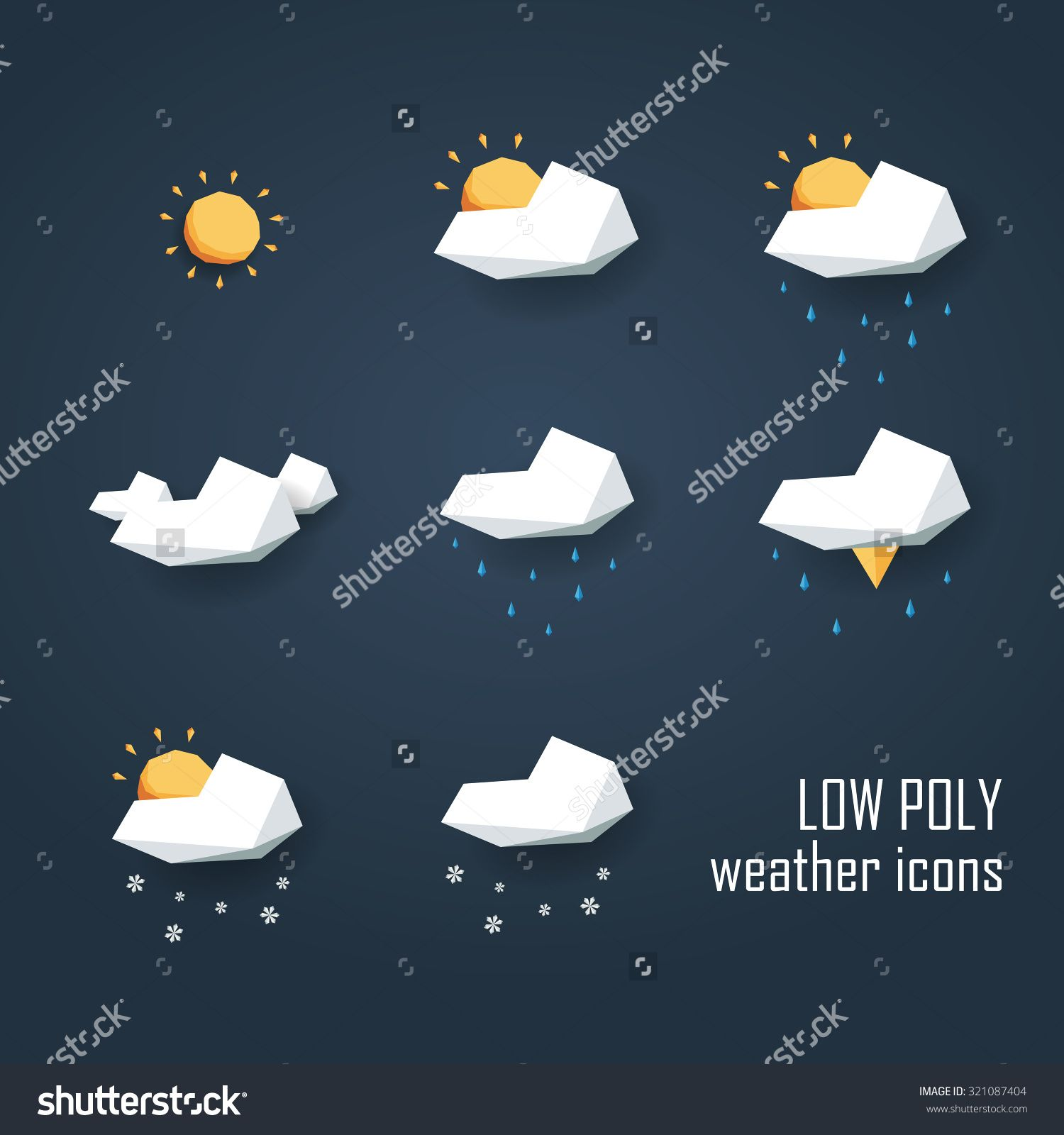 Stock Images Similar To Id 166010426 Winter Cloud With Snowflakes In Weather Icons Low Poly Weather