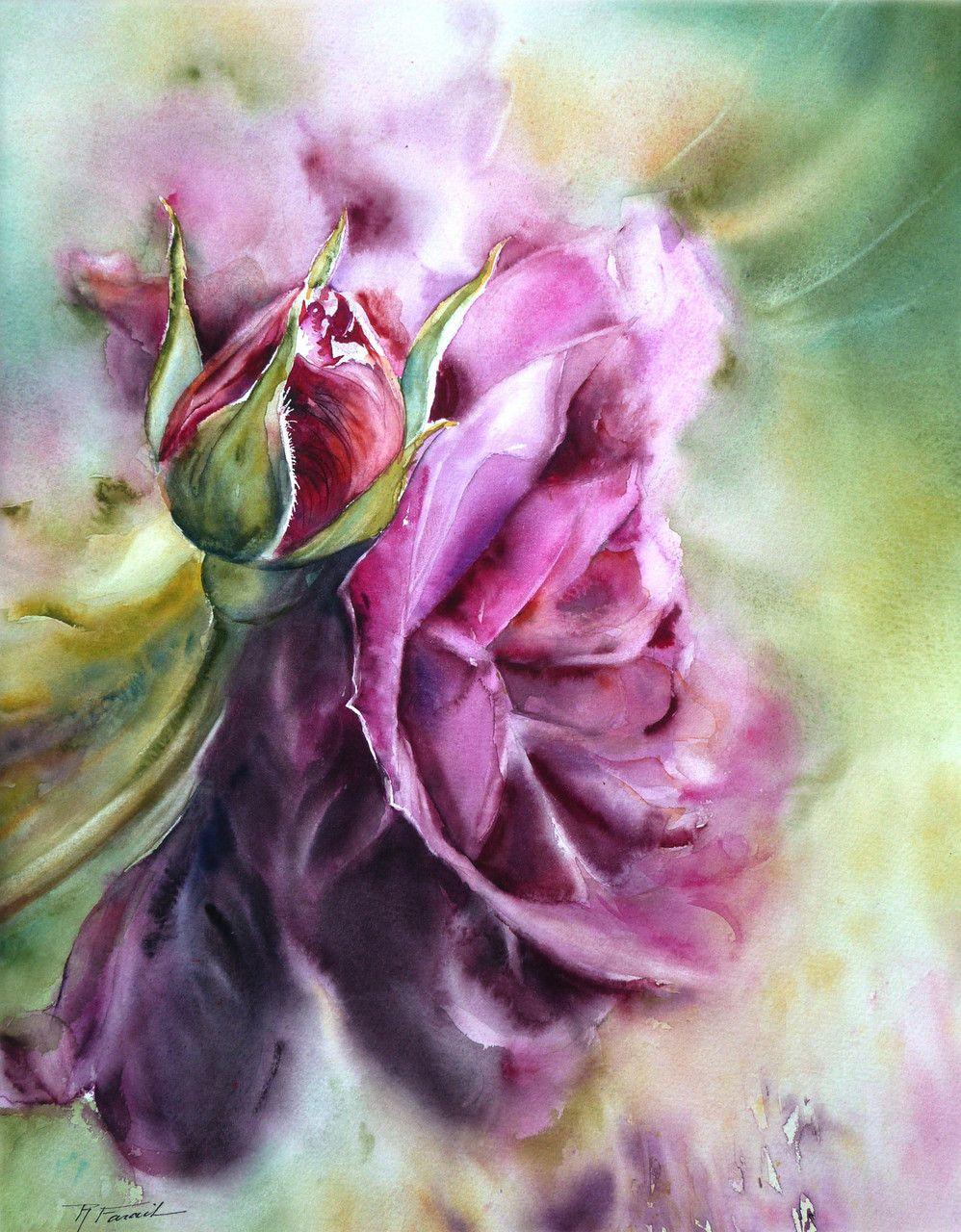 Aquarelles Vernies Sur Papier Yupo Peinture Fleurs Dessin Pastel