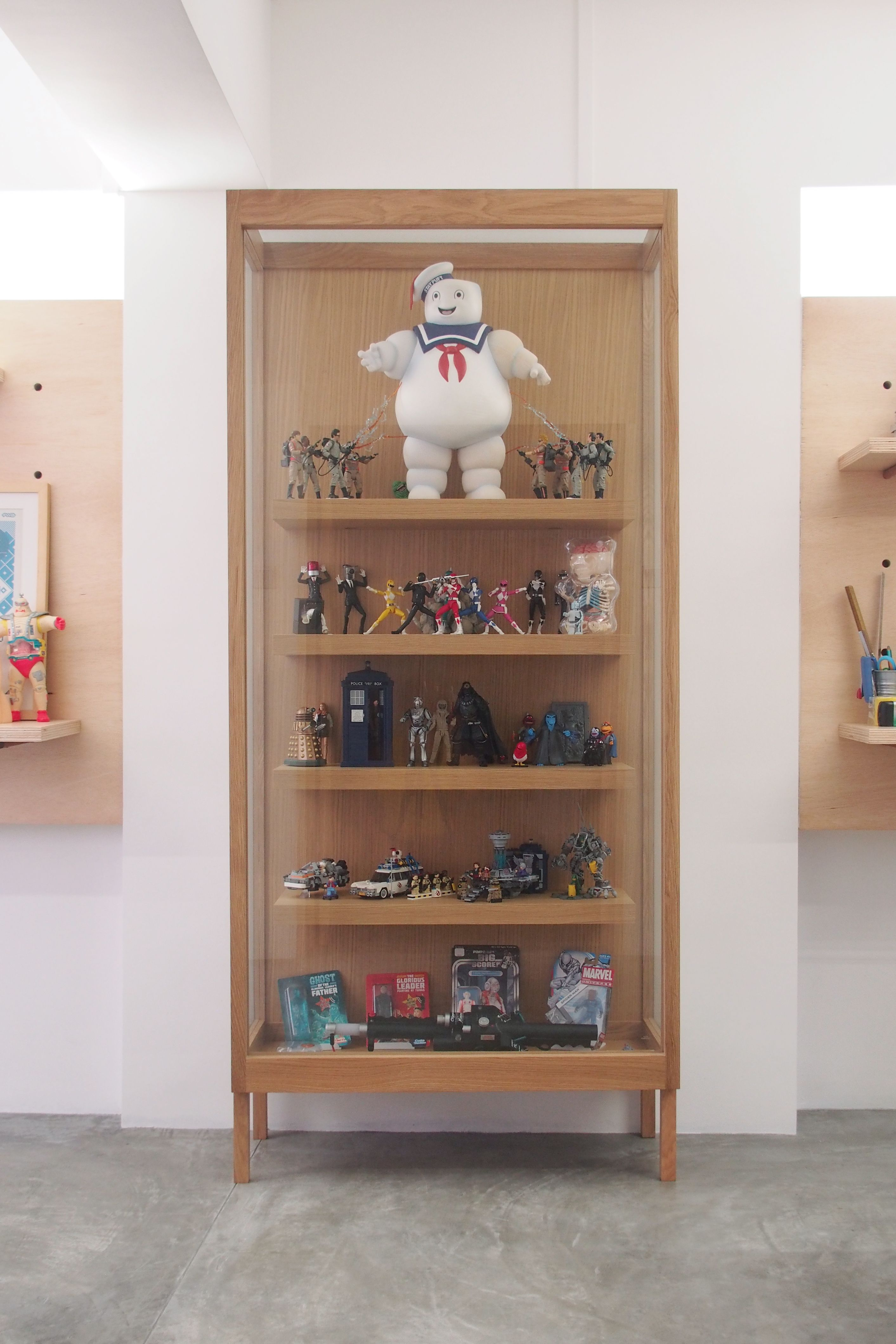 Toy Display Interior By The Association Hdb Interior Minimal Wood Oak Folk Toys Ghostbusters Pegboard Toy Display Tokidoki Home Decor