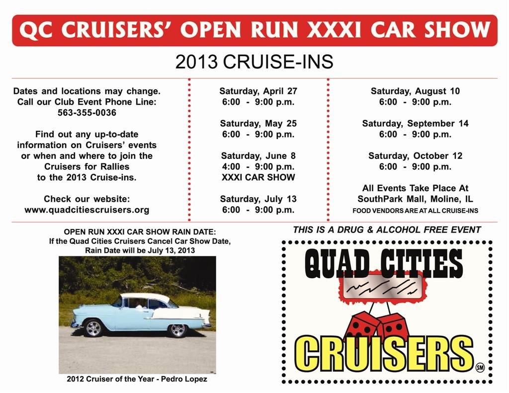 Qc Cruisers Open Run Xxxi Car Show 6 8 2013