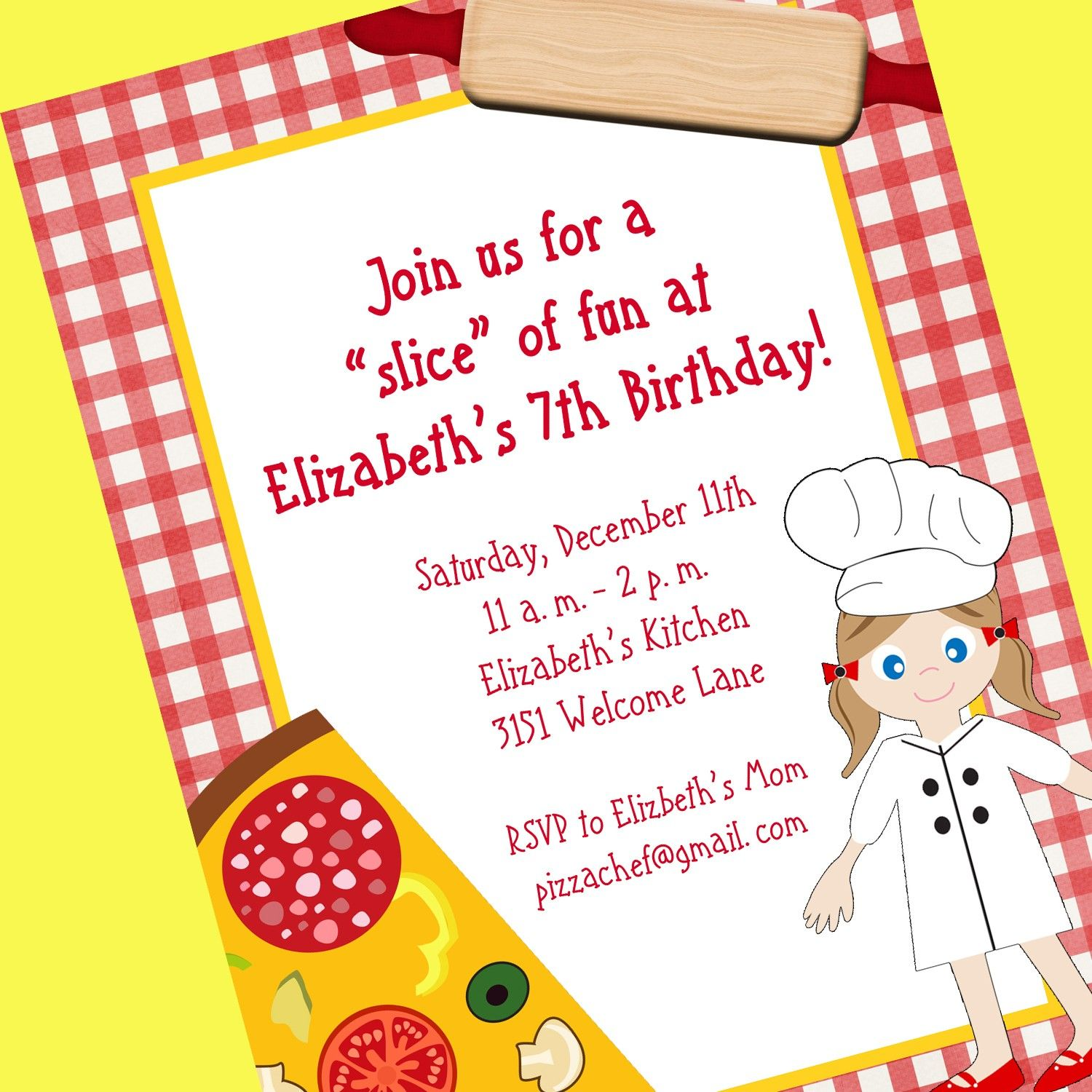 Pizza Chef Invitation, Printable Invitation Design, Custom Wording ...