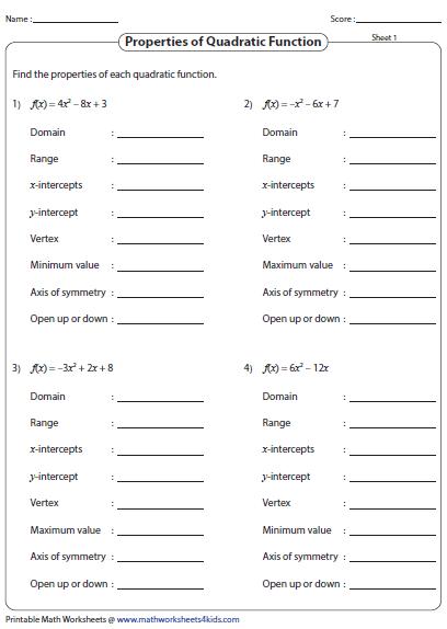 Properties Of Quadratic Function Quadratics Quadratic Functions Math Pbl