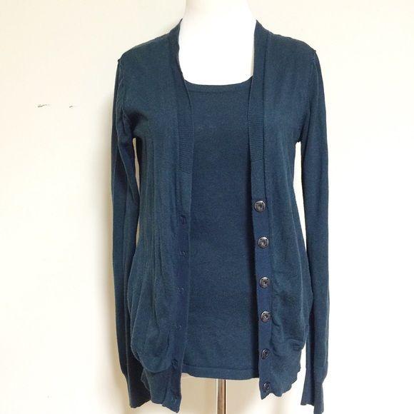 acc08b047 CAbi-dark teal twin set cardigan-Size Small CAbi-dark teal twin set