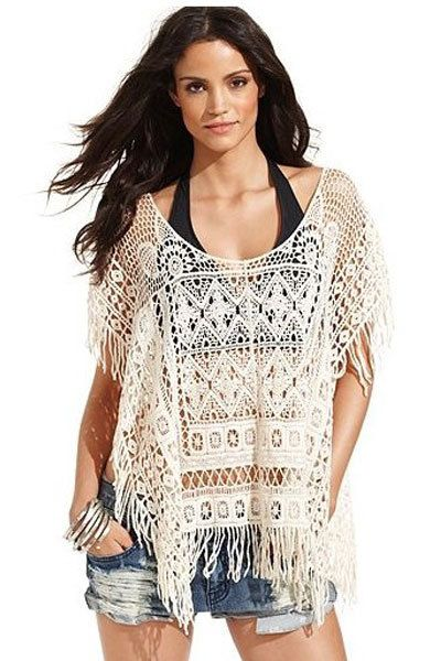 52da68cfda4 Women Summer Sexy White Crochet Fringe Beach Cover-up Blouse Beach Wear  LC40799 Womens Beachwear Free Shipping US  17.20